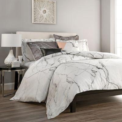 Carrara Twin Duvet Cover Set In White Grey