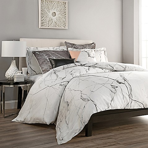 Carrara duvet cover set bed bath beyond for Black and white marble bedding
