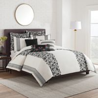 Cupcakes and Cashmere Folk Floral Full/Queen Duvet Cover in Black/White