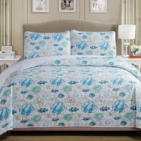 Panama Jack® Fish Reversible Full/Queen Quilt Set in Blue