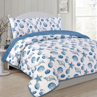 panama jack seashells reversible fullqueen quilt set in bluewhite