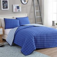 VCNY Home Circle Embossed Reversible Twin/Twin XL Coverlet Set in Blue