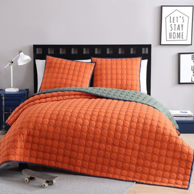 Perfect VCNY Home Circle Stitch Reversible Twin/Twin XL Coverlet Set In Burnt Orange