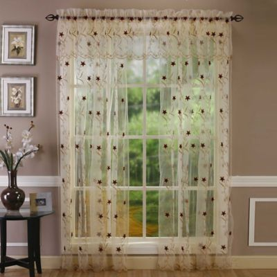 Buy embroidered curtain sheers from bed bath beyond astor 108 inch sheer embroidered rod pocket window curtain panel in gold ccuart Gallery