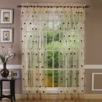Astor 63-Inch Sheer Embroidered Rod Pocket Window Curtain Panel in Gold