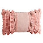 Chenille Lattice Fringe Oblong Throw Pillow in Blush