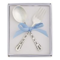 "Mud Pie® 2-Piece ""Love You To the Moon"" Vintage Silver-Plated Feeding Set in Blue"