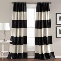Montego Stripe 84-Inch Rod Pocket Room Darkening Window Curtain Panel Pair in Black