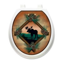 Toilet Tattoos® Moose at Sunset Decorative Appliqué for Round Toilet Lids