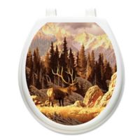 Toilet Tattoos® Elk Bull Decorative Appliqué for Round Toilet Lids