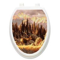 Toilet Tattoos® Elk Bull Decorative Appliqué for Elongated Toilet Lids