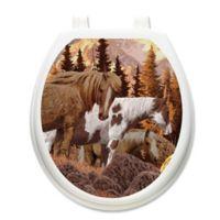 Toilet Tattoos® Wild Horses Decorative Appliqué for Round Toilet Lids