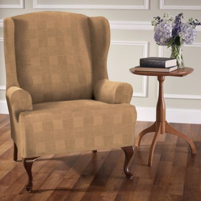 Stretch Plaid Wingback Chair Slipcover In Camel