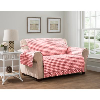 Gingham Sofa Protector In Red