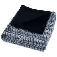 Nottingham Home Plush Faux Mink Throw Blanket in Grey