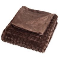 Nottingham Home Plush Faux Mink Throw Blanket in Brown