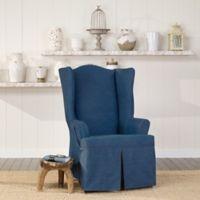 SUREFIT Authentic Denim Wing Chair Slipcover in Indigo