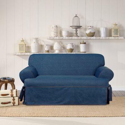 SUREFIT Authentic Denim T Cushion Loveseat Slipcover In Indigo