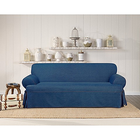 Surefit Authentic Denim T Cushion Sofa Slipcover Bed