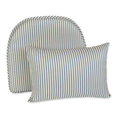 Klear Vu Ticking Stripe Gripper® Chair Pad And Lumbar Pillow Set In Blue