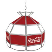 Vintage Coca-Cola® Small Logo Stained Glass Pendant Billiard Lamp in Red/White