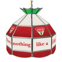 Vintage Coca-Cola® Small Logo Stained Glass Pendant Billiard Lamp in Red/White/Green