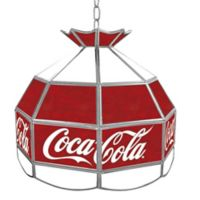 Vintage Coca-Cola® Stained Glass Pendant Billiard Lamp in Red/White