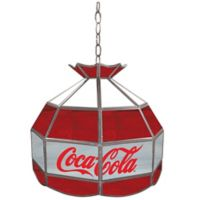 Vintage Coca-Cola® Stained Glass Pendant Billiard Lamp in Red/White/Grey