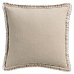 Haven Frayed Edge Square Throw Pillow in Khaki