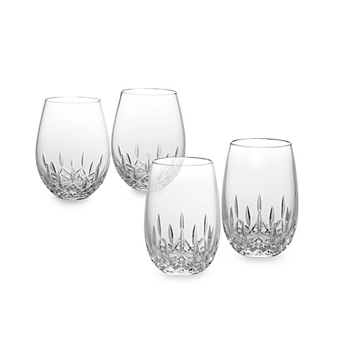 Waterford lismore nouveau stemless crystal wine glasses bed bath beyond - Stemless wine goblets ...