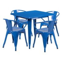 Flash Furniture 5-Piece Metal Indoor Square Table and Stackable Chairs Set in Blue