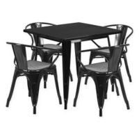 Flash Furniture 5-Piece Metal Indoor Square Table and Stackable Chairs Set in Black