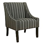 HomePop Striped Swoop Accent Chair in Grey