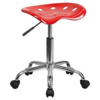 Flash Furniture Rolling Plastic Stool with Tractor Seat in Red