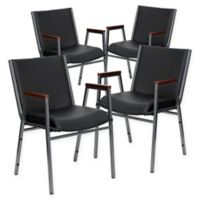 Flash Furniture Vinyl Stacking Chairs in Black (Set of 4)