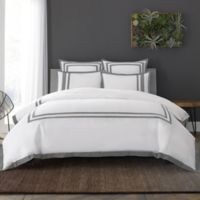 Wamsutta® Hotel Border MICRO COTTON® King Duvet Cover Set in White/Charcoal