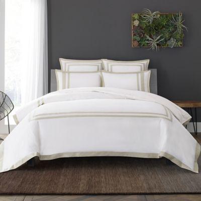 Wamsutta® Hotel Border MICRO COTTON® King Duvet Cover Set In White/Taupe