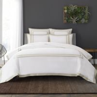 Wamsutta® Hotel Border MICRO COTTON® Full/Queen Duvet Cover Set in White/Taupe