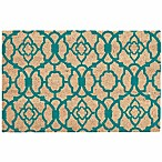 "Nourison Waverly Greetings 1'6"" x 2'4"" Door Mat in Aqua"