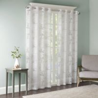 Madison Park Leilani 84-Inch Grommet Top Window Curtain Panel in White