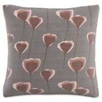 Skyline Floral Square Throw Pillow in Taupe