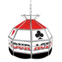 """""""Four Aces"""" Stained Glass Pendant Billiard Lamp in Red/White/Black"""