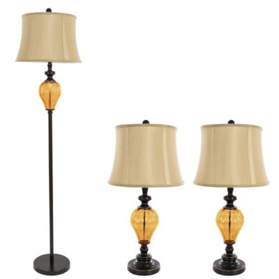 Buy floor and table lamp set from bed bath beyond nottingham home 3 piece glass table and floor lamp in rubbed bronze aloadofball Images