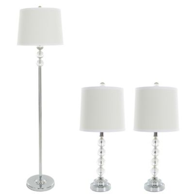 Buy floor and table lamp set from bed bath beyond nottingham home 3 piece crystal table and floor lamp set in silver aloadofball Image collections