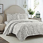 Laura Ashley® Rowland King Quilt Set in Grey