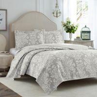 Laura Ashley® Rowland Full/Queen Quilt Set in Grey