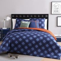VCNY Home Checker 4-Piece Reversible Twin/Twin XL Comforter Set in Navy