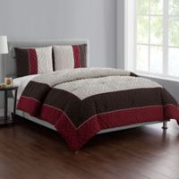 VCNY Home Tristian 3-Piece Framed Embossed King Comforter Set in Red/Taupe
