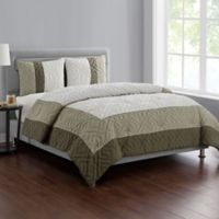 VCNY Home Tristian 3-Piece Framed Embossed Full/Queen Comforter Set in Taupe