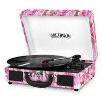 Victrola™ 3-Speed Bluetooth Portable Suitcase Record Player in Camo Pink